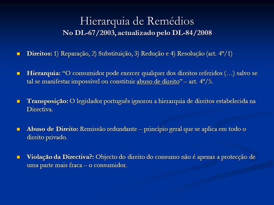 Hierarquia de Remédios No DL-67/2003, actualizado pelo DL-84/2008 Direitos: 1) Reparação, 2) Substituição, 3) Redução e 4) Resolução (art. 4º/1) Direi