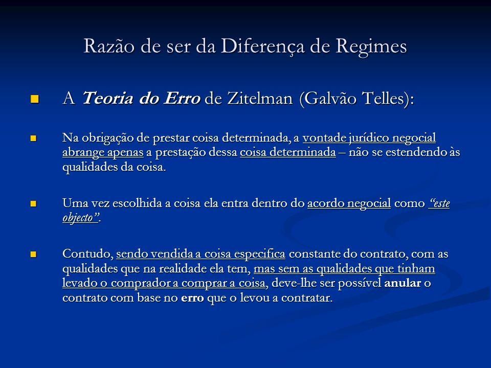 Razão de ser da Diferença de Regimes A Teoria do Erro de Zitelman (Galvão Telles): A Teoria do Erro de Zitelman (Galvão Telles): Na obrigação de prest