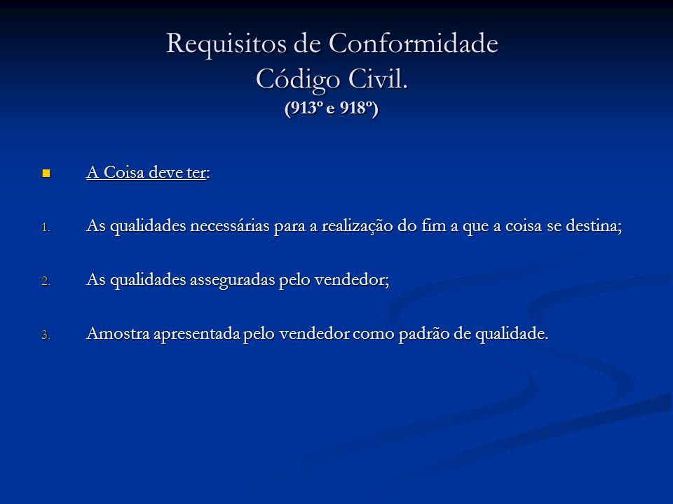 Requisitos de Conformidade Código Civil. (913º e 918º) A Coisa deve ter: A Coisa deve ter: 1. As qualidades necessárias para a realização do fim a que