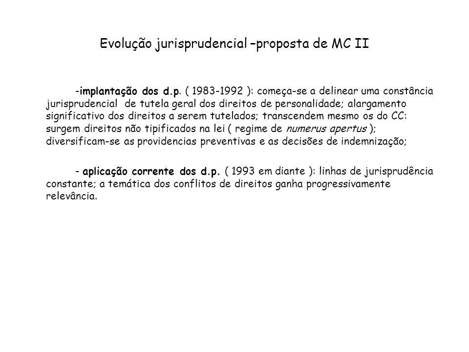 Evolução jurisprudencial –proposta de MC II -implantação dos d.p. ( 1983-1992 ): começa-se a delinear uma constância jurisprudencial de tutela geral d
