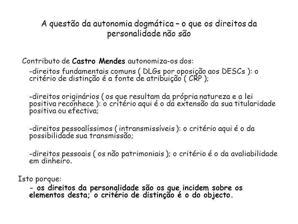 A questão da autonomia dogmática – o que os direitos da personalidade não são Contributo de Castro Mendes autonomiza-os dos: -direitos fundamentais co