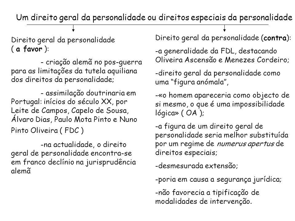 Um direito geral da personalidade ou direitos especiais da personalidade Direito geral da personalidade ( a favor ): - criação alemã no pos-guerra par