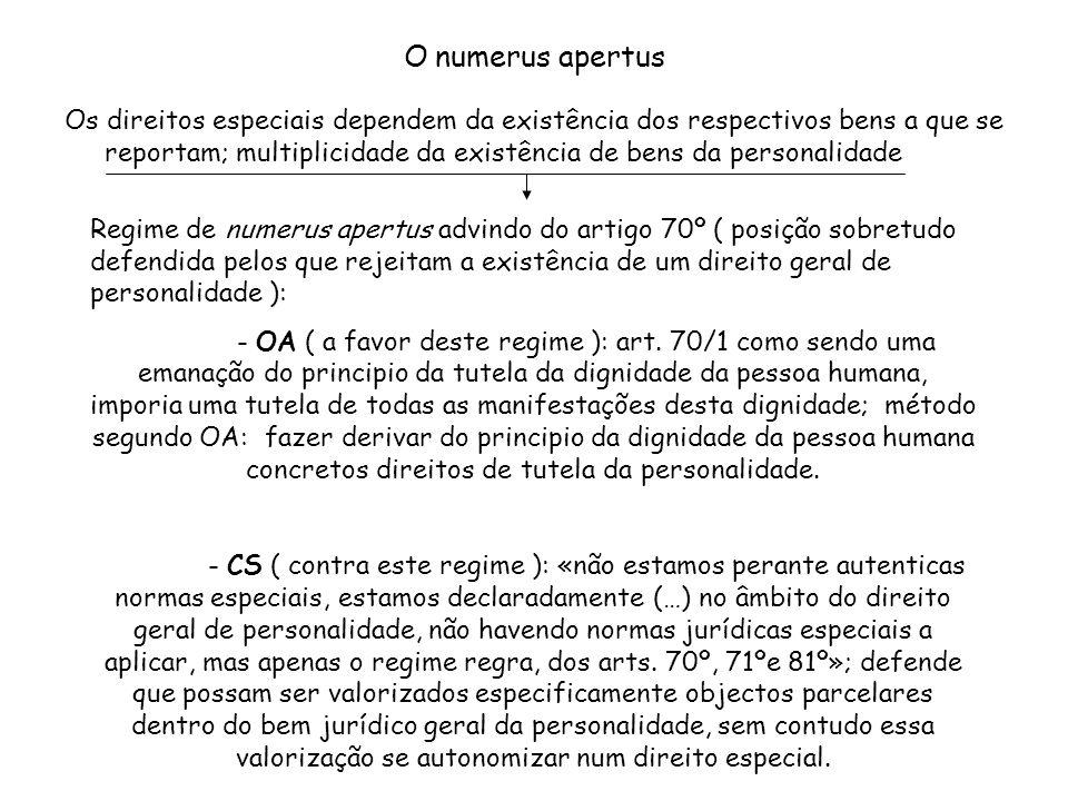 O numerus apertus Os direitos especiais dependem da existência dos respectivos bens a que se reportam; multiplicidade da existência de bens da persona