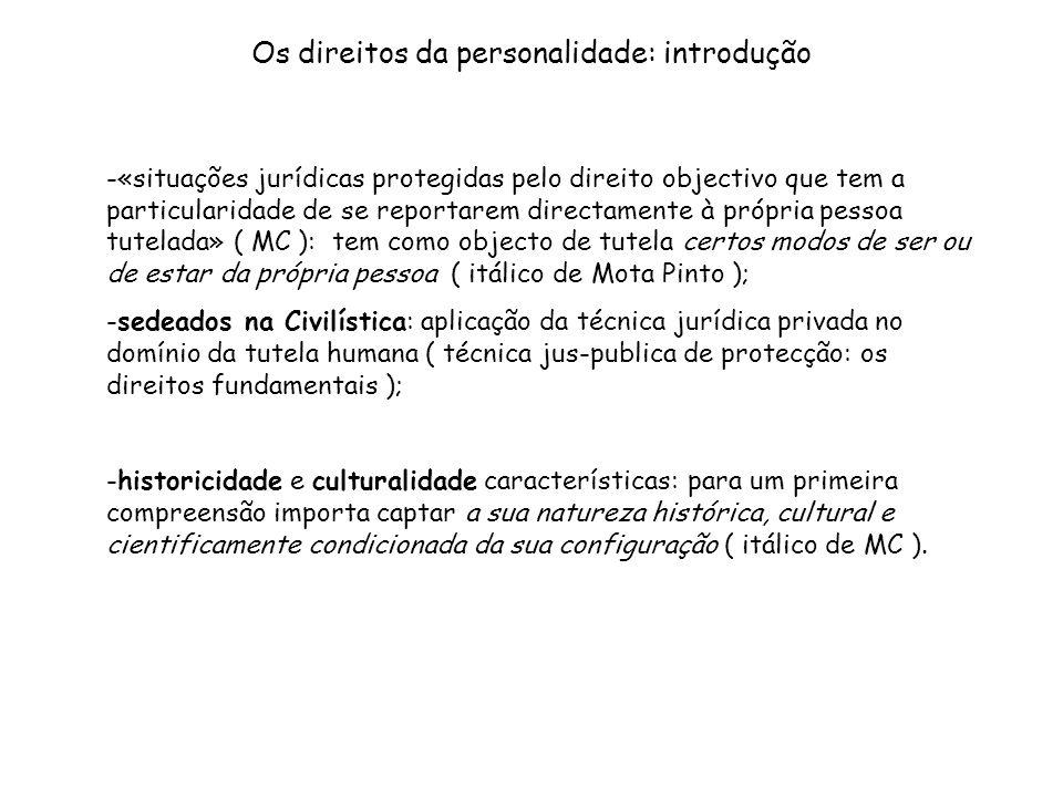 Os direitos da personalidade: introdução -«situações jurídicas protegidas pelo direito objectivo que tem a particularidade de se reportarem directamen