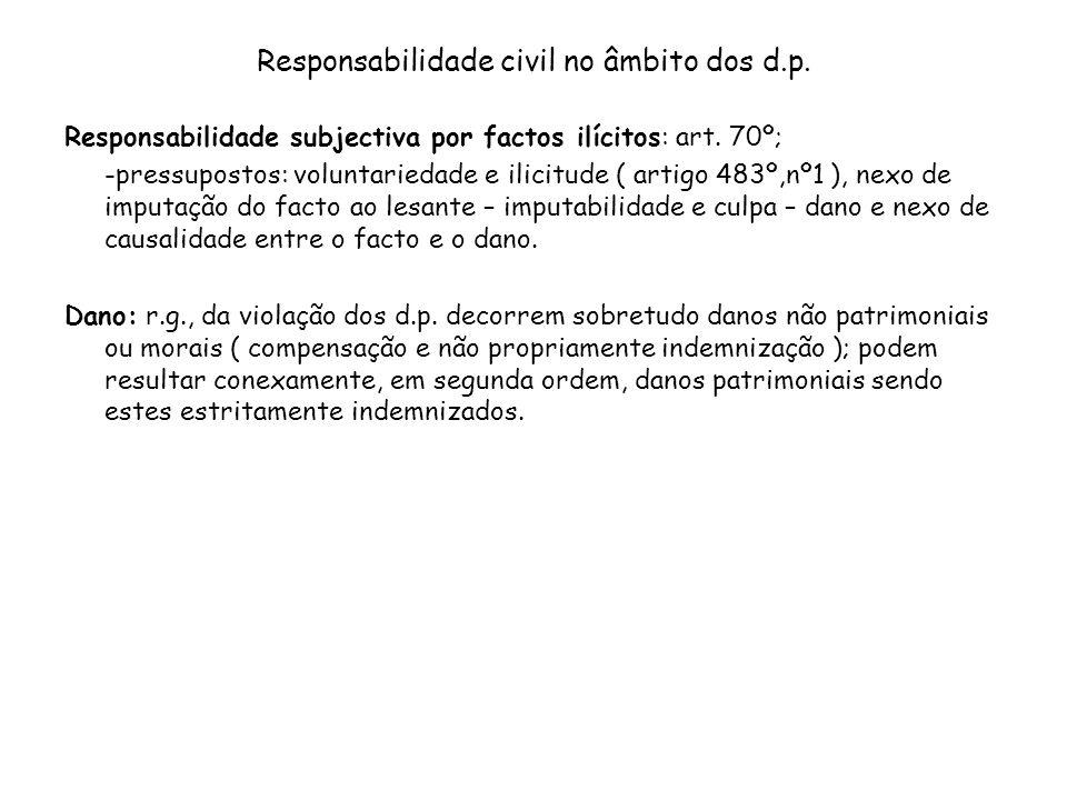 Responsabilidade civil no âmbito dos d.p. Responsabilidade subjectiva por factos ilícitos: art. 70º; -pressupostos: voluntariedade e ilicitude ( artig