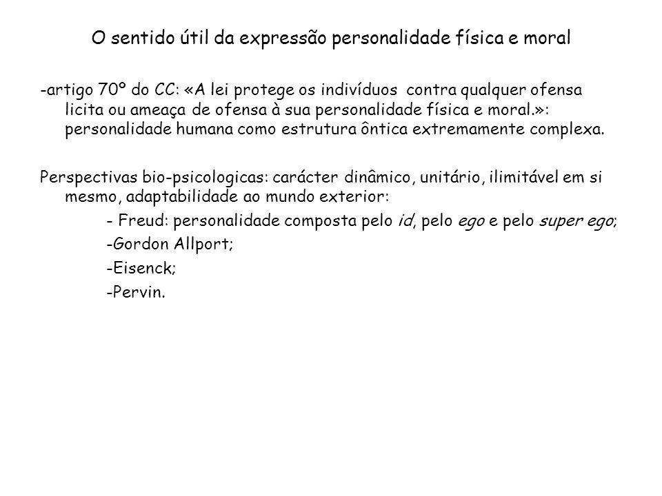 O sentido útil da expressão personalidade física e moral -artigo 70º do CC: «A lei protege os indivíduos contra qualquer ofensa licita ou ameaça de of