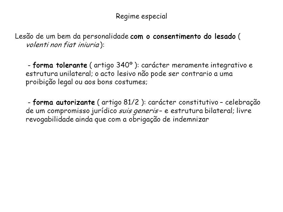 Regime especial Lesão de um bem da personalidade com o consentimento do lesado ( volenti non fiat iniuria ): - forma tolerante ( artigo 340º ): caráct