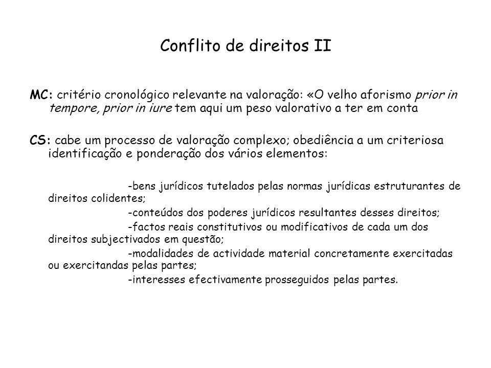 Conflito de direitos II MC: critério cronológico relevante na valoração: «O velho aforismo prior in tempore, prior in iure tem aqui um peso valorativo