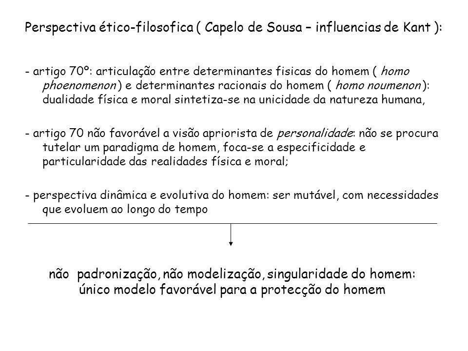 Perspectiva ético-filosofica ( Capelo de Sousa – influencias de Kant ): - artigo 70º: articulação entre determinantes fisicas do homem ( homo phoenome