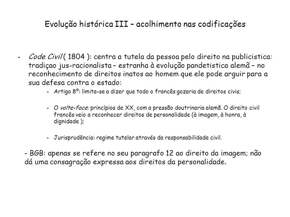 Evolução histórica III – acolhimento nas codificações -Code Civil ( 1804 ): centra a tutela da pessoa pelo direito na publicistica: tradiçao jus-racio