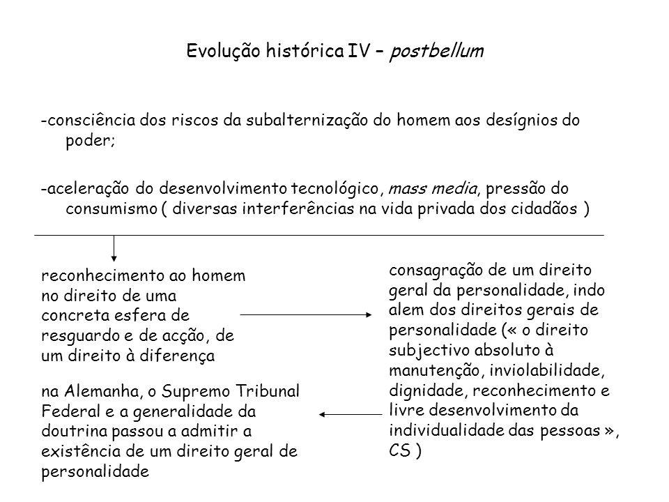Evolução histórica IV – postbellum -consciência dos riscos da subalternização do homem aos desígnios do poder; -aceleração do desenvolvimento tecnológ