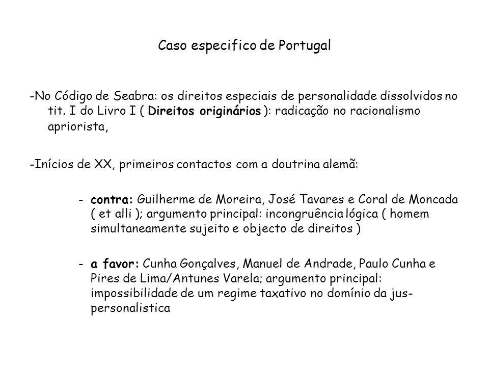 Caso especifico de Portugal -No Código de Seabra: os direitos especiais de personalidade dissolvidos no tit. I do Livro I ( Direitos originários ): ra
