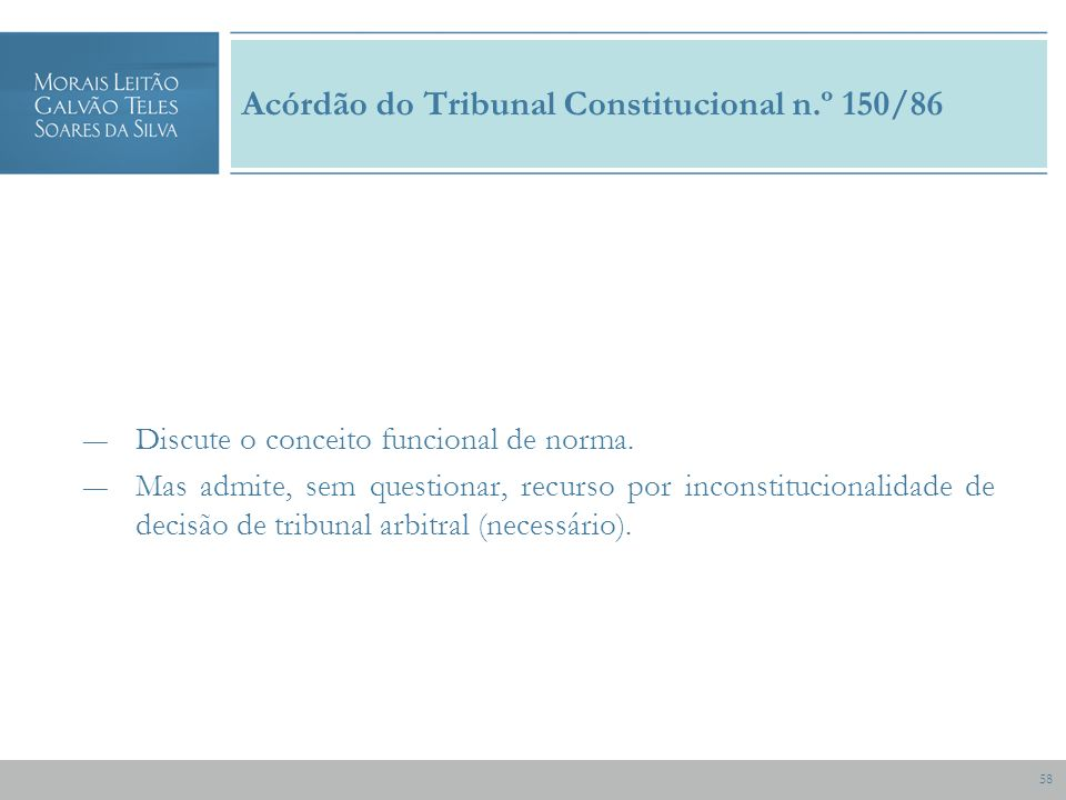 58 Acórdão do Tribunal Constitucional n.º 150/86 Discute o conceito funcional de norma.