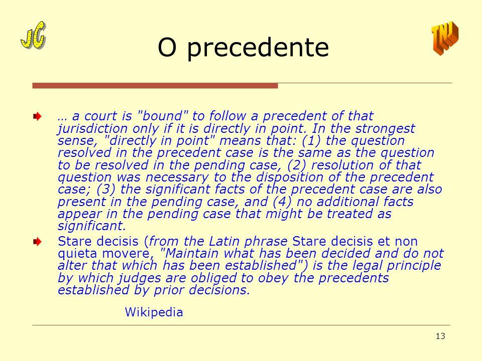 13 O precedente … a court is