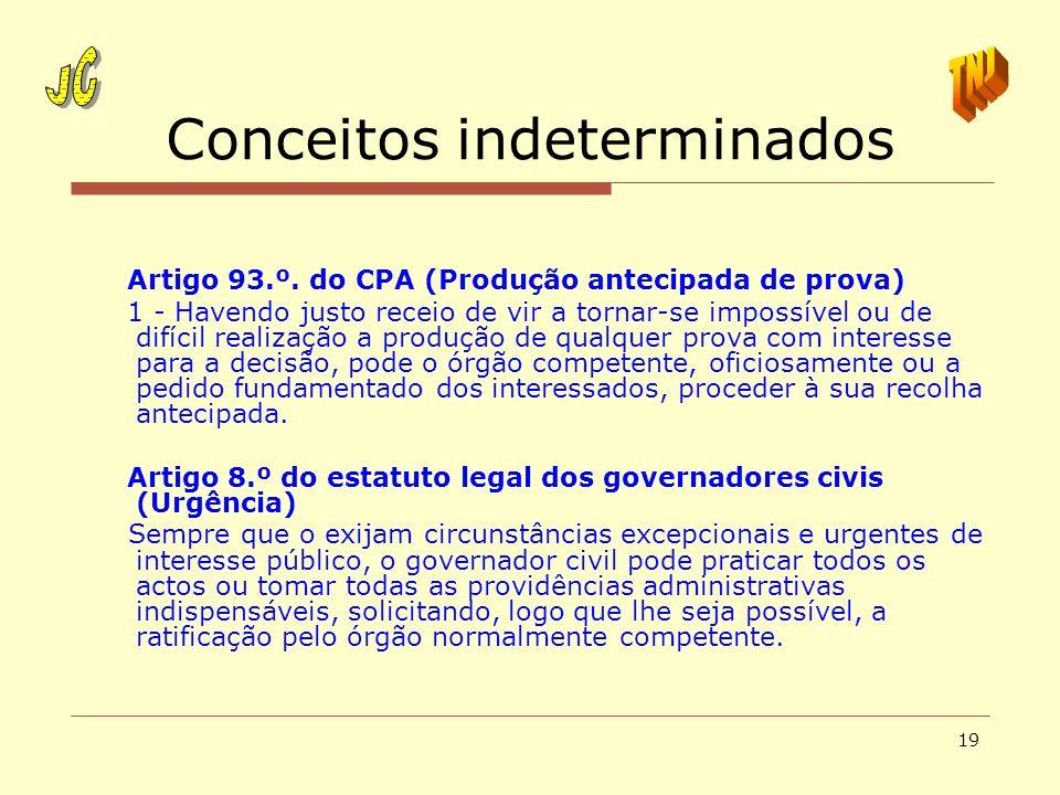 19 Conceitos indeterminados Artigo 93.º. do CPA (Produção antecipada de prova) 1 - Havendo justo receio de vir a tornar-se impossível ou de difícil re