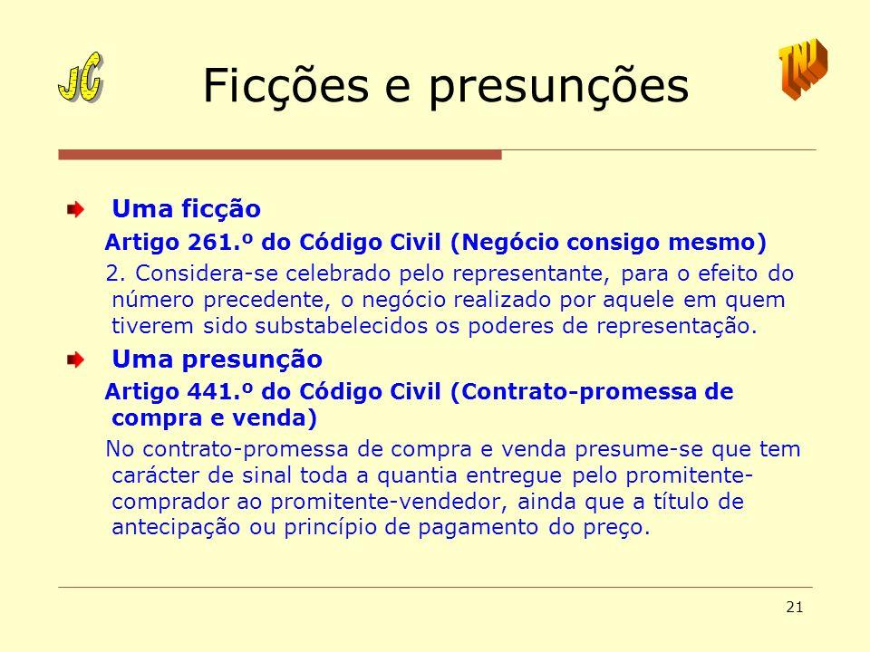 21 Ficções e presunções Uma ficção Artigo 261.º do Código Civil (Negócio consigo mesmo) 2. Considera-se celebrado pelo representante, para o efeito do