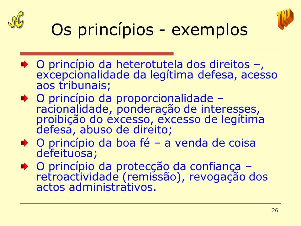 26 Os princípios - exemplos O princípio da heterotutela dos direitos –, excepcionalidade da legítima defesa, acesso aos tribunais; O princípio da prop