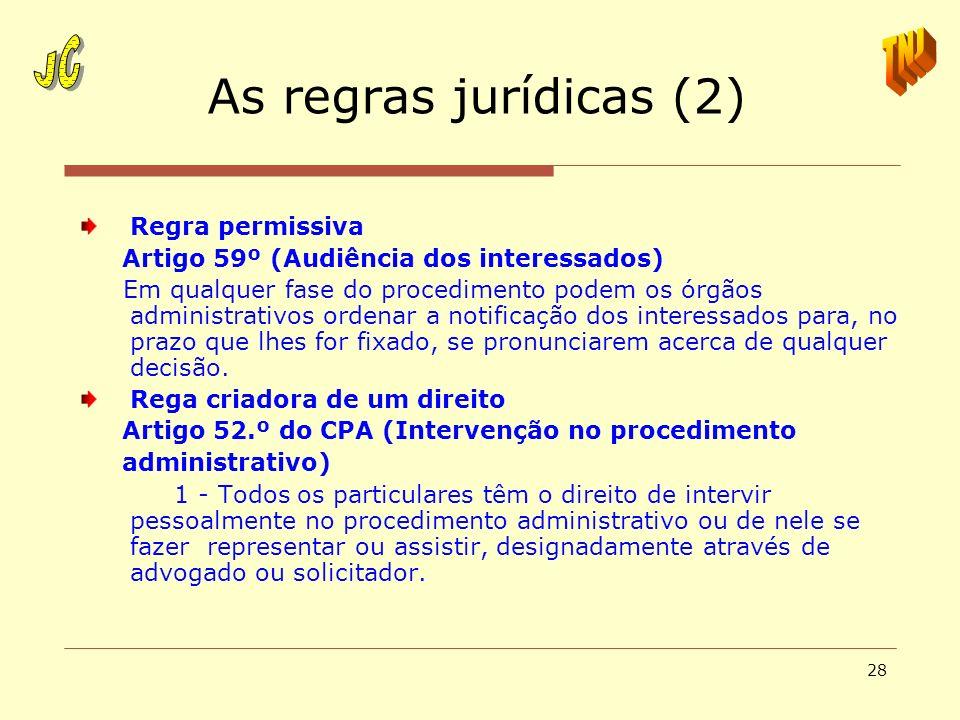 28 As regras jurídicas (2) Regra permissiva Artigo 59º (Audiência dos interessados) Em qualquer fase do procedimento podem os órgãos administrativos o