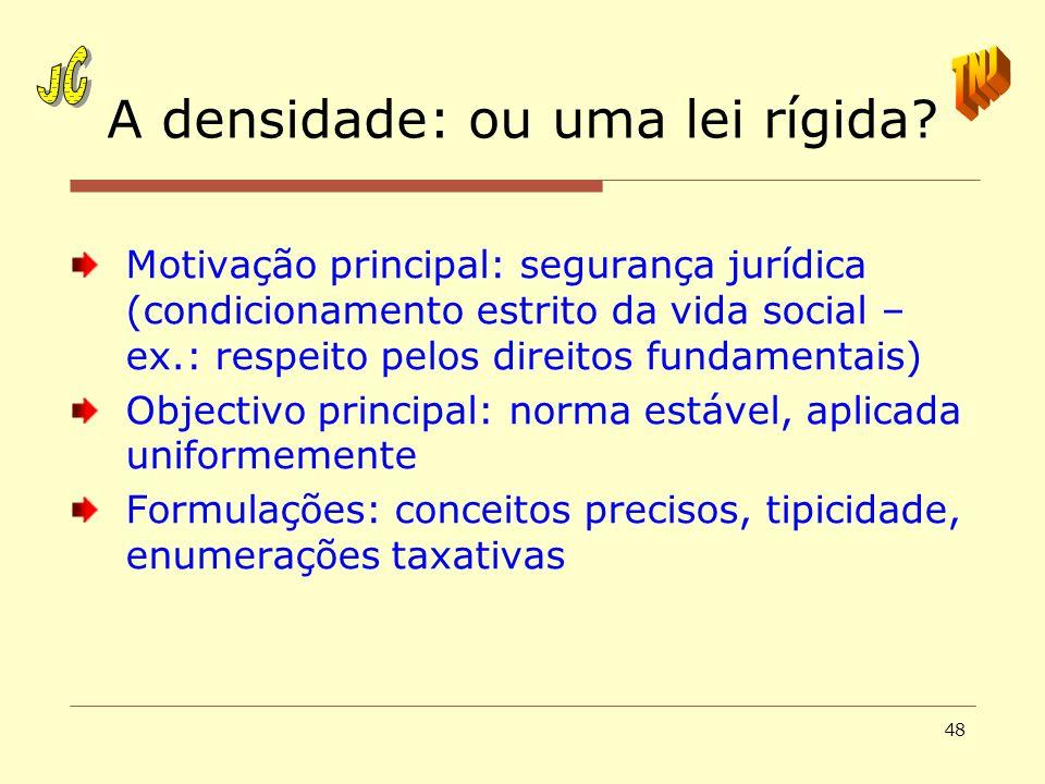 48 A densidade: ou uma lei rígida? Motivação principal: segurança jurídica (condicionamento estrito da vida social – ex.: respeito pelos direitos fund