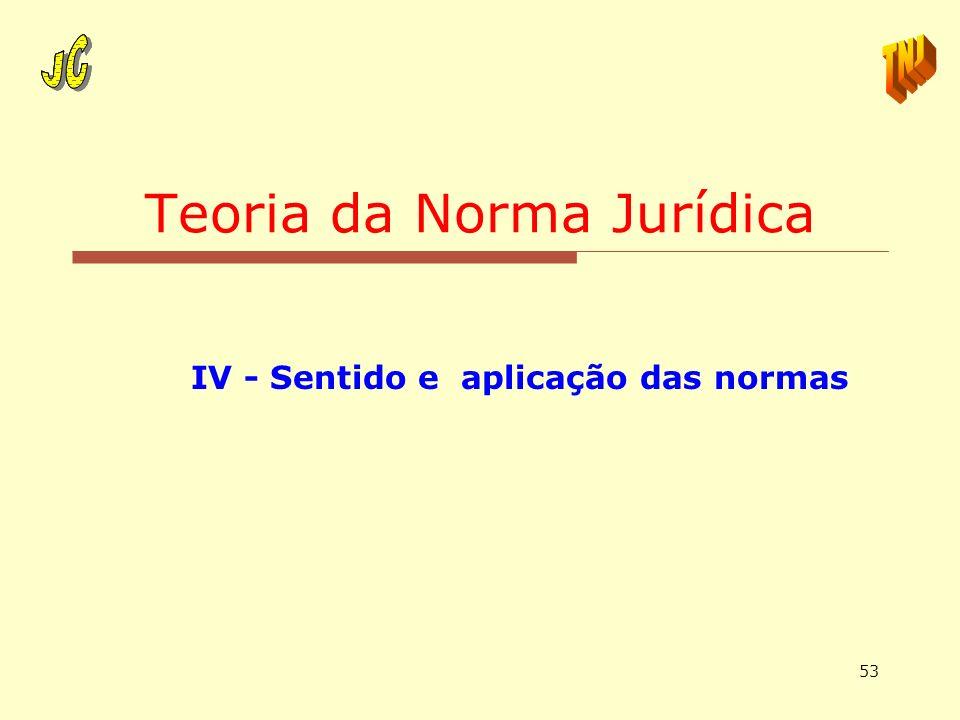 53 Teoria da Norma Jurídica IV - Sentido e aplicação das normas