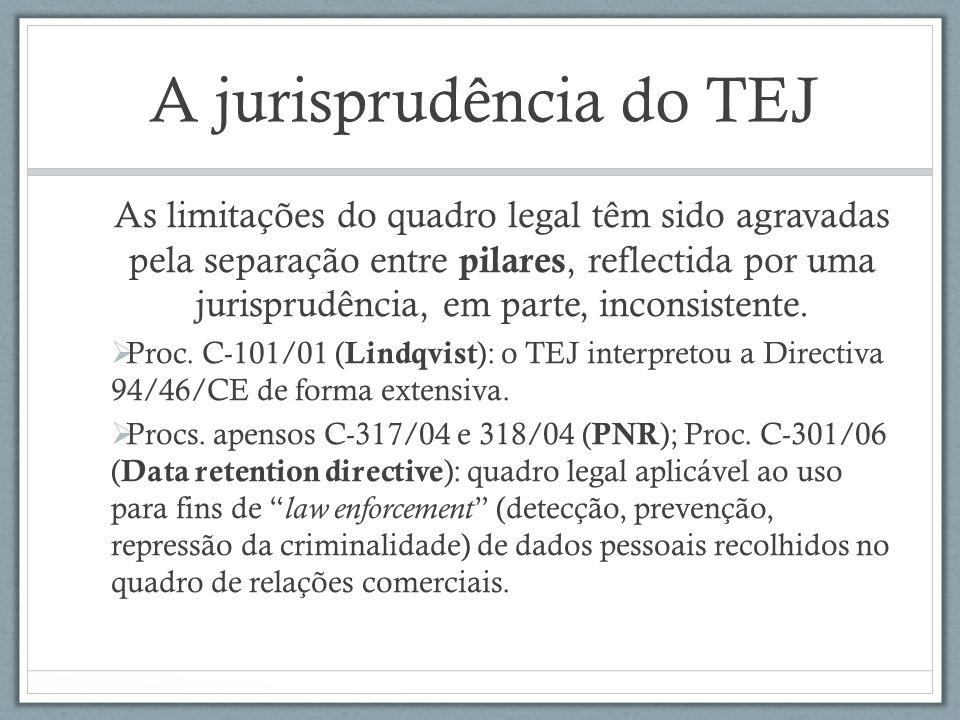 A jurisprudência do TEJ As limitações do quadro legal têm sido agravadas pela separação entre pilares, reflectida por uma jurisprudência, em parte, in