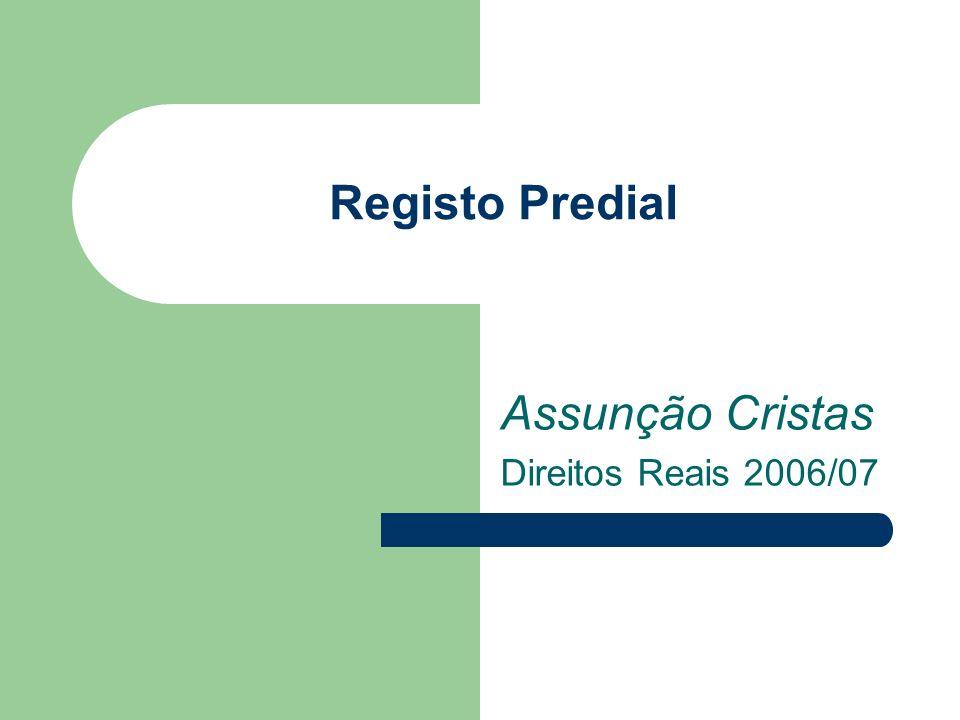 Registo Predial Assunção Cristas Direitos Reais 2006/07