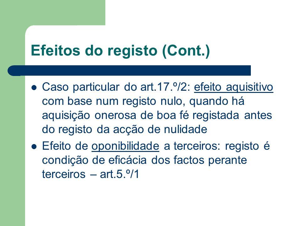 Efeitos do registo (Cont.) Caso particular do art.17.º/2: efeito aquisitivo com base num registo nulo, quando há aquisição onerosa de boa fé registada