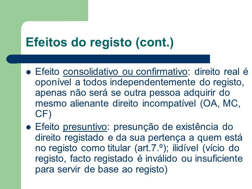 Efeitos do registo (cont.) Efeito consolidativo ou confirmativo: direito real é oponível a todos independentemente do registo, apenas não será se outr
