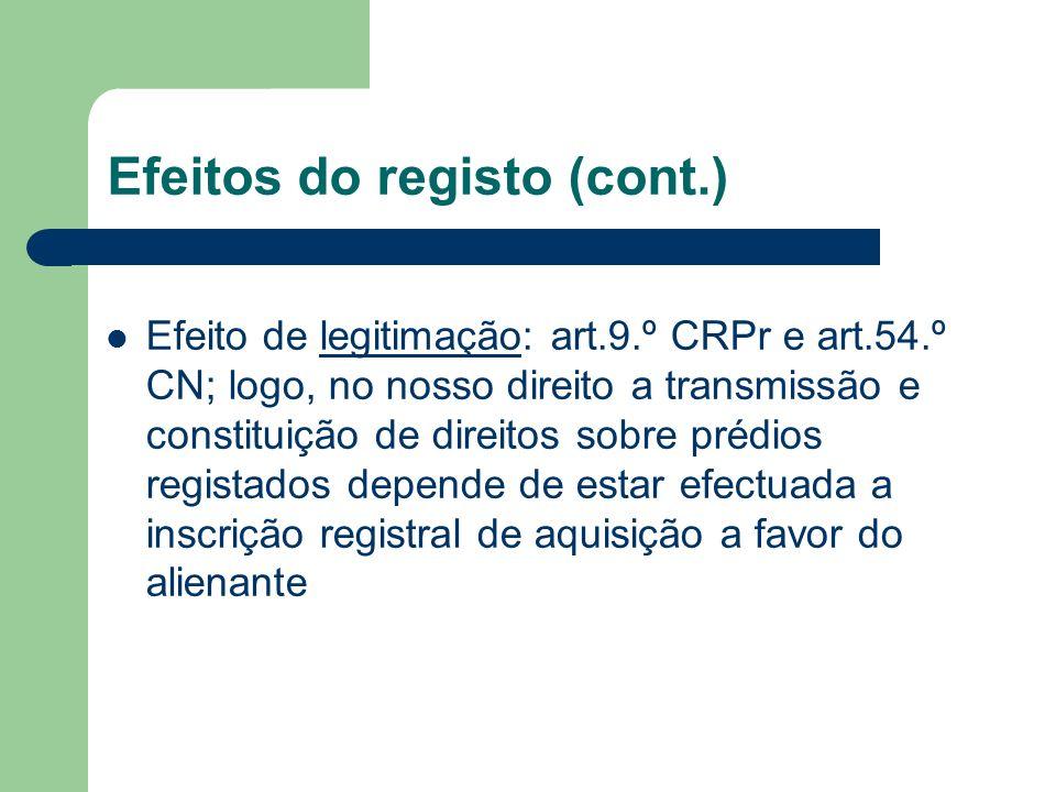 Efeitos do registo (cont.) Efeito de legitimação: art.9.º CRPr e art.54.º CN; logo, no nosso direito a transmissão e constituição de direitos sobre pr