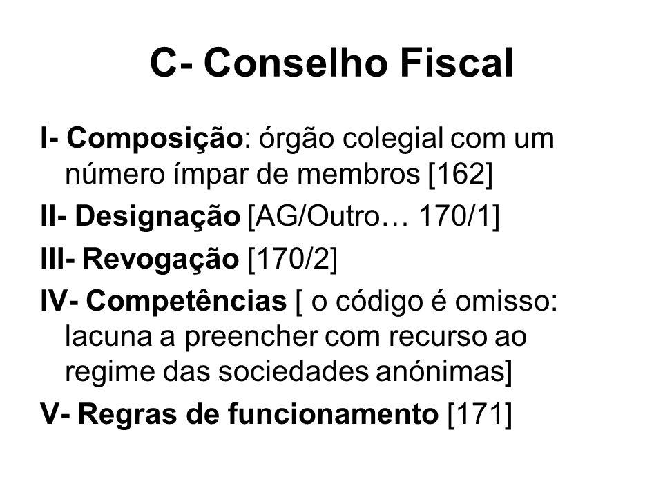 C- Conselho Fiscal I- Composição: órgão colegial com um número ímpar de membros [162] II- Designação [AG/Outro… 170/1] III- Revogação [170/2] IV- Comp