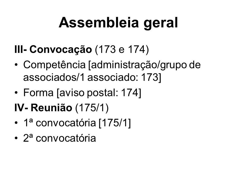 Assembleia geral III- Convocação (173 e 174) Competência [administração/grupo de associados/1 associado: 173] Forma [aviso postal: 174] IV- Reunião (1