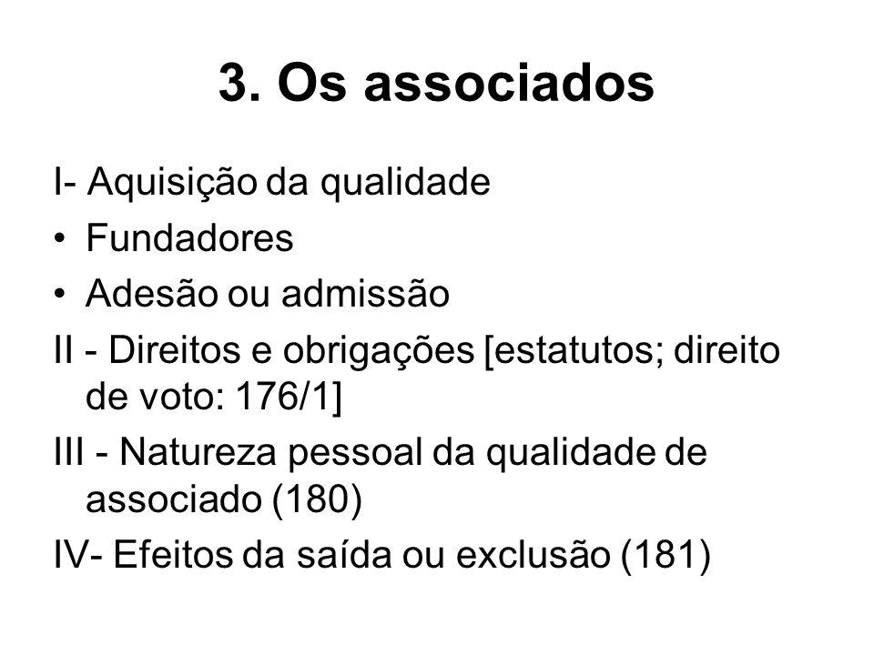 3. Os associados I- Aquisição da qualidade Fundadores Adesão ou admissão II - Direitos e obrigações [estatutos; direito de voto: 176/1] III - Natureza