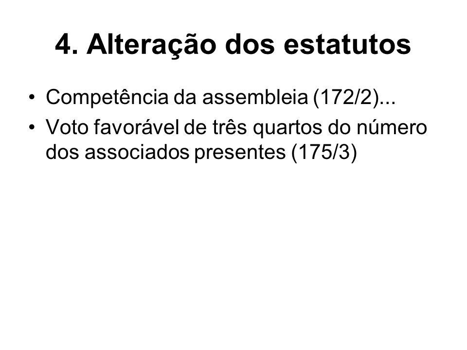 4. Alteração dos estatutos Competência da assembleia (172/2)... Voto favorável de três quartos do número dos associados presentes (175/3)