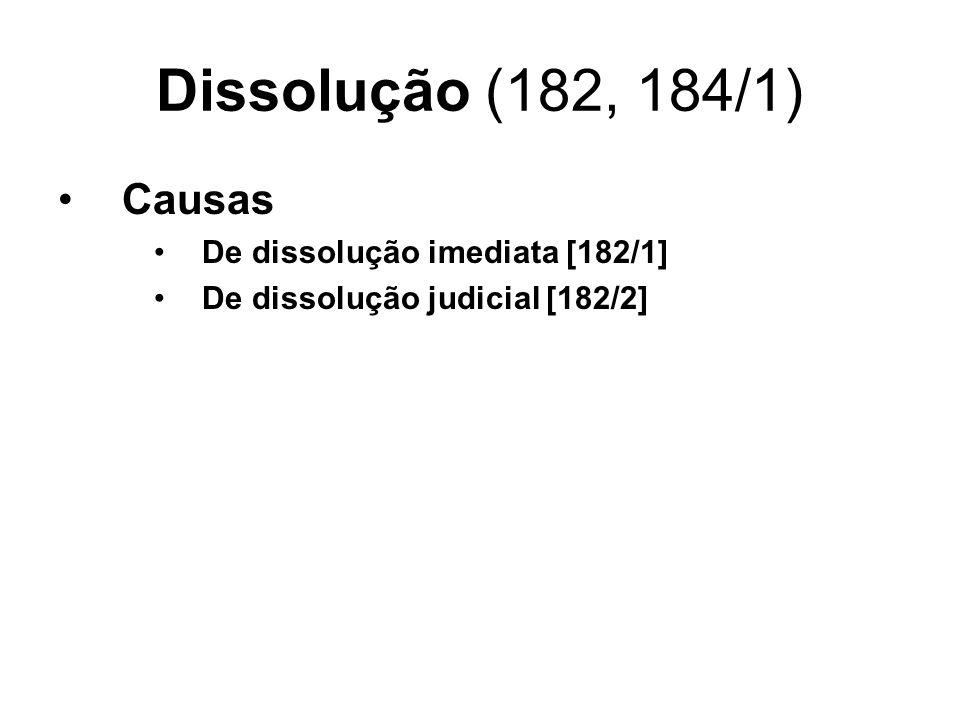 Dissolução (182, 184/1) Causas De dissolução imediata [182/1] De dissolução judicial [182/2]