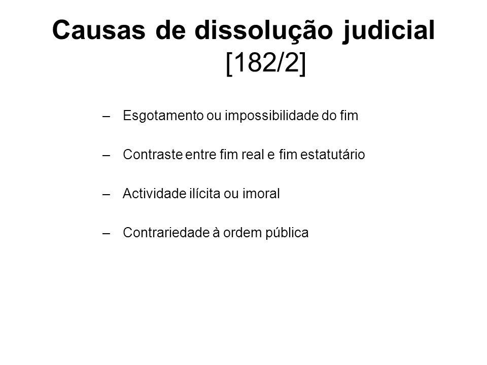 Causas de dissolução judicial [182/2] –Esgotamento ou impossibilidade do fim –Contraste entre fim real e fim estatutário –Actividade ilícita ou imoral