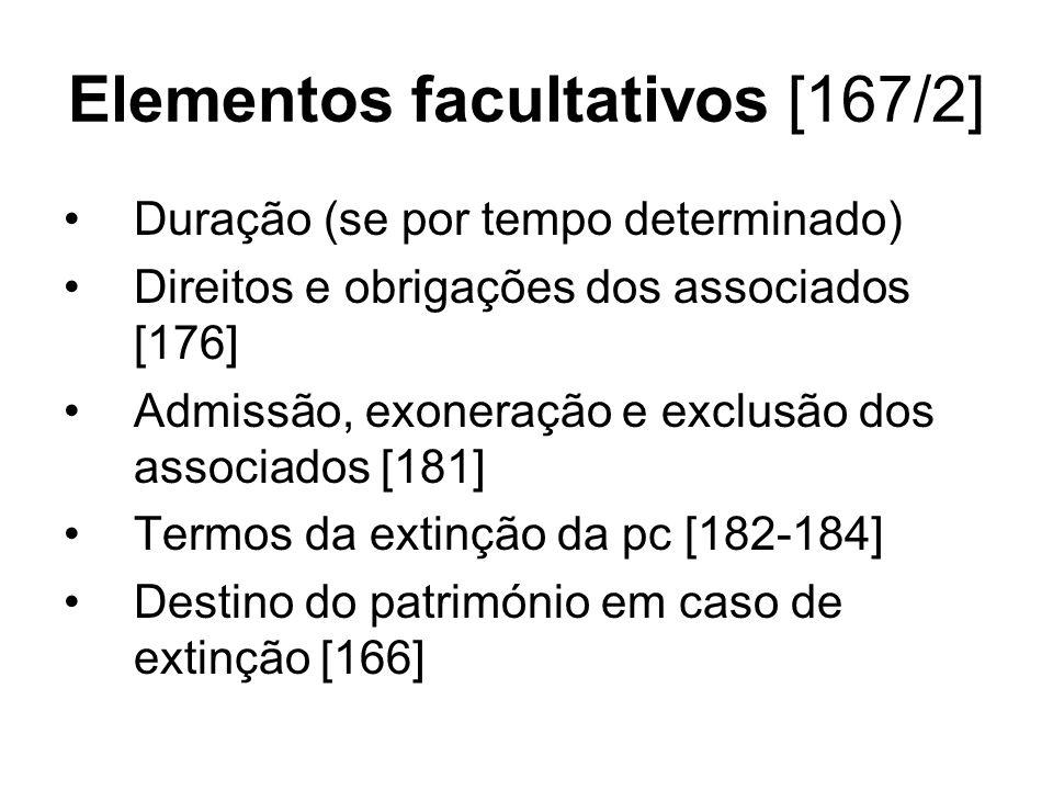 Elementos facultativos [167/2] Duração (se por tempo determinado) Direitos e obrigações dos associados [176] Admissão, exoneração e exclusão dos assoc