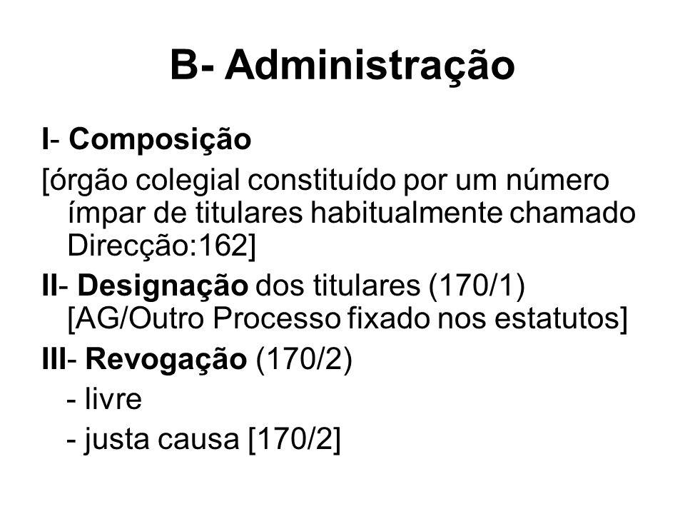 B- Administração I- Composição [órgão colegial constituído por um número ímpar de titulares habitualmente chamado Direcção:162] II- Designação dos tit