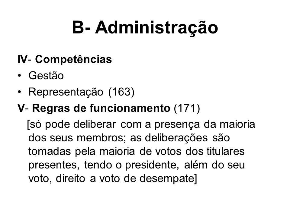 B- Administração IV- Competências Gestão Representação (163) V- Regras de funcionamento (171) [só pode deliberar com a presença da maioria dos seus me
