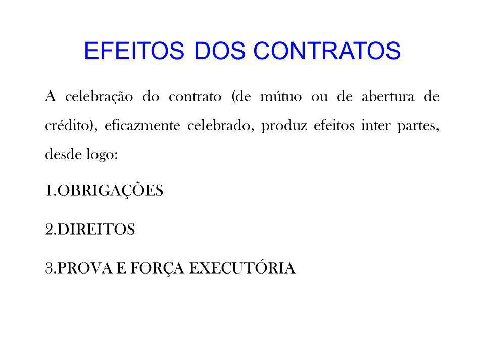 EFEITOS DOS CONTRATOS A celebração do contrato (de mútuo ou de abertura de crédito), eficazmente celebrado, produz efeitos inter partes, desde logo: 1