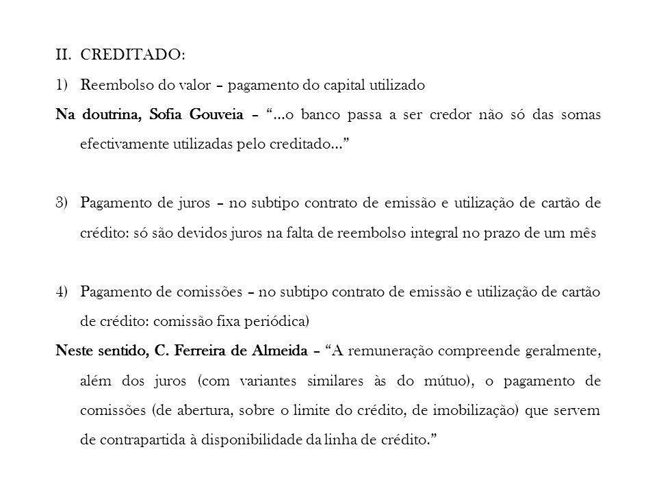 II.CREDITADO: 1)Reembolso do valor – pagamento do capital utilizado Na doutrina, Sofia Gouveia – …o banco passa a ser credor não só das somas efectiva