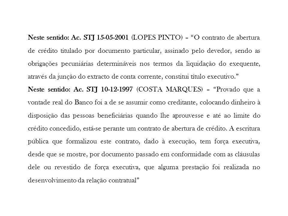 Neste sentido: Ac. STJ 15-05-2001 (LOPES PINTO) – O contrato de abertura de crédito titulado por documento particular, assinado pelo devedor, sendo as