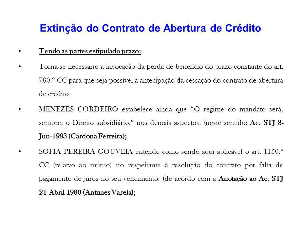 Extinção do Contrato de Abertura de Crédito Tendo as partes estipulado prazo: Torna-se necessário a invocação da perda de benefício do prazo constante