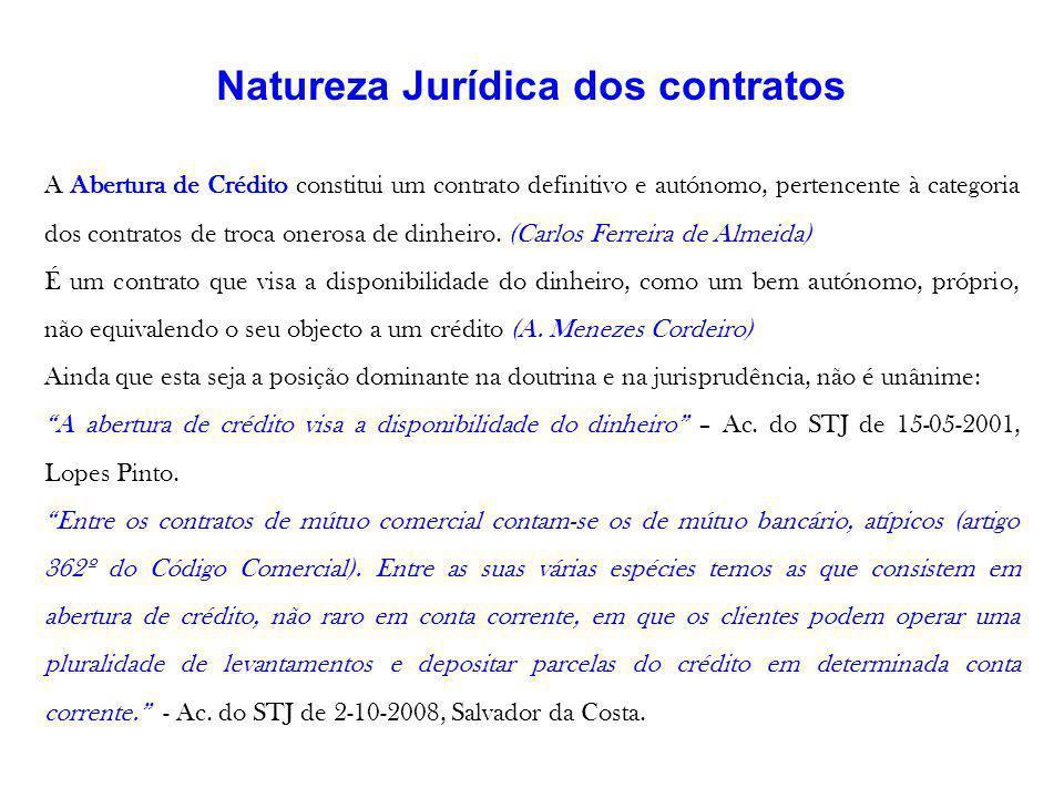 Natureza Jurídica dos contratos A Abertura de Crédito constitui um contrato definitivo e autónomo, pertencente à categoria dos contratos de troca oner