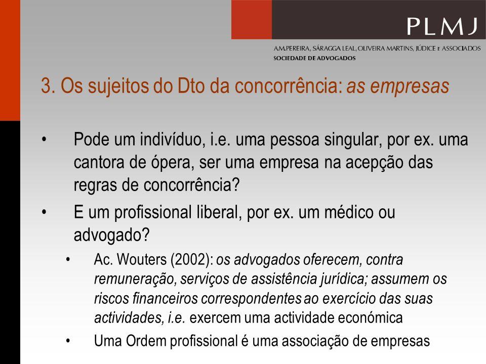 3.Os sujeitos do Dto da concorrência: as empresas Pode um indivíduo, i.e.