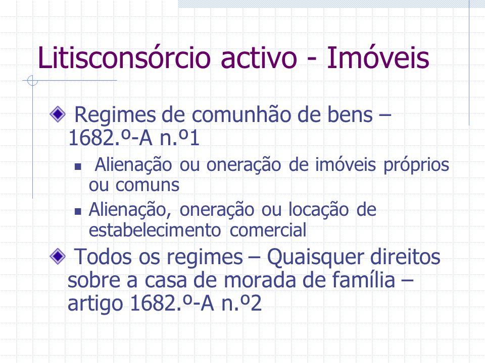Litisconsórcio activo - Móveis Administração Alienação ou oneração Litisconsórcio Bens Móveis Comuns Ambos Ambos os cônjuges Necessário De um O cônjug