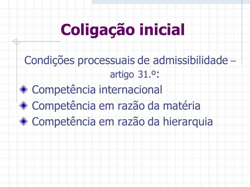 Coligação inicial Condições processuais de admissibilidade – artigo 31.º : Formas de processo iguais; Ou diferentes apenas em razão do valor; Ou não s