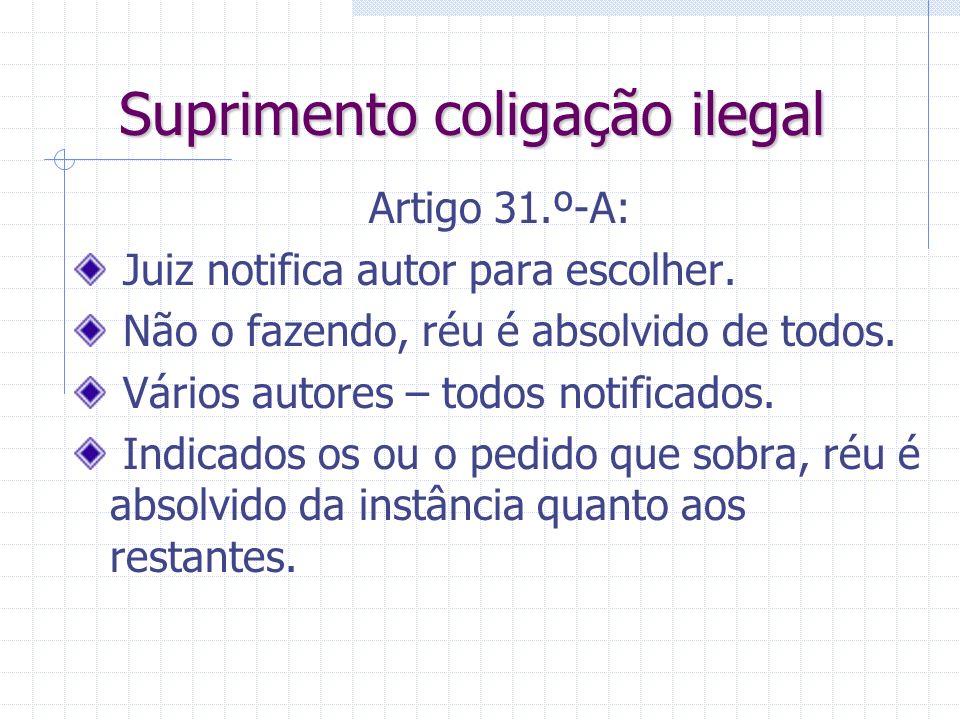 Coligação inicial Mesmo verificando-se os requisitos da coligação, Juiz pode ordenar a separação se Existir inconveniente grave na cumulação. Notifica