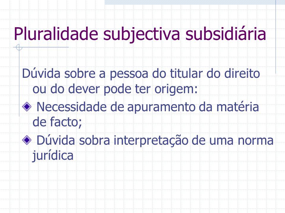 Pluralidade subjectiva subsidiária Litisconsórcio subsidiário – mesmo pedido é deduzido por ou contra uma parte a título principal e por ou contra out