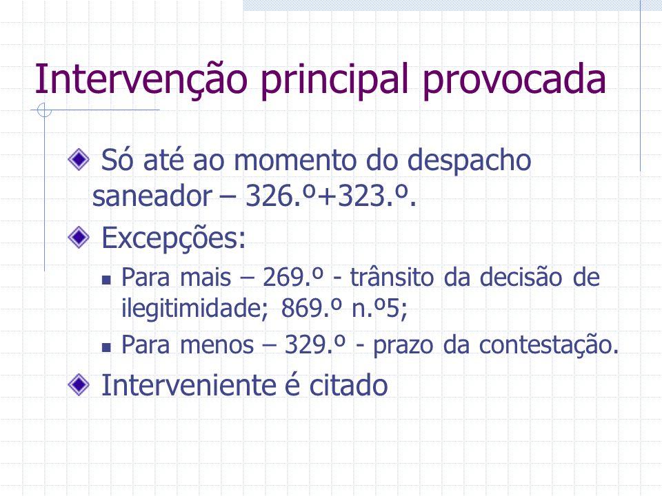 Intervenção principal espontânea Forma: articulado próprio ou adesão aos articulados da parte a que se associa – 321.º Até que momento pode intervir-3