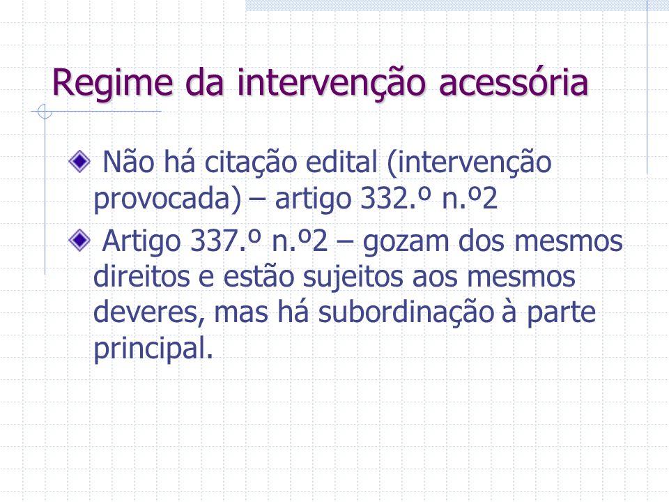 Intervenção acessória espontânea Artigo 335.º: Sempre que haja interesse jurídico numa decisão favorável. Assistente titular de uma relação jurídica c